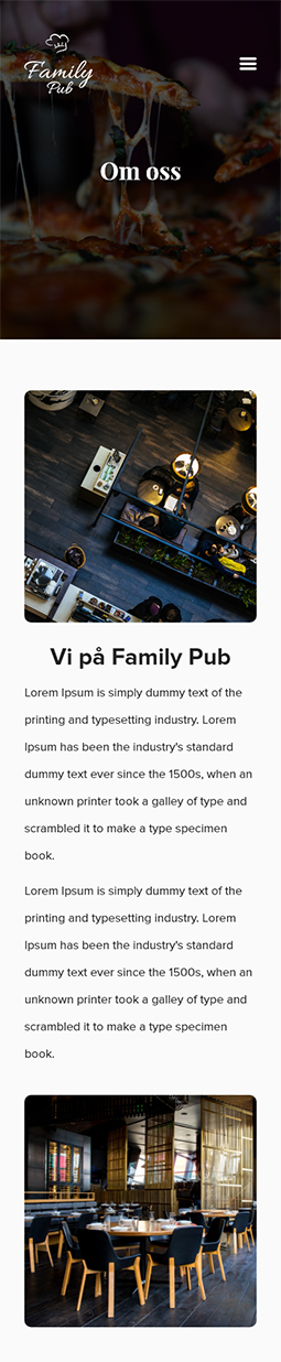 Family Pub - About us page - Mobile